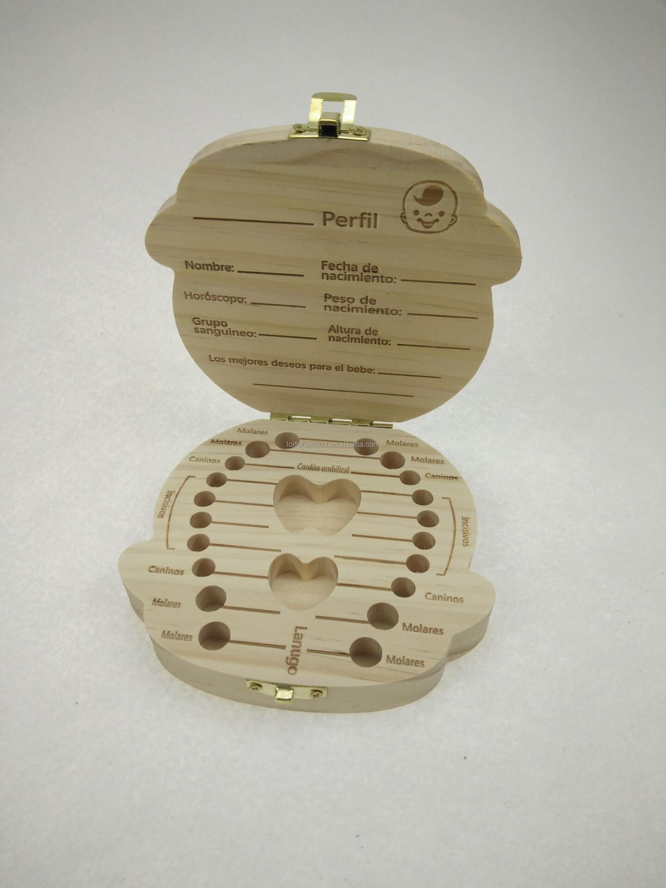 Alone package wood box baby teeth storage with detailed baby information