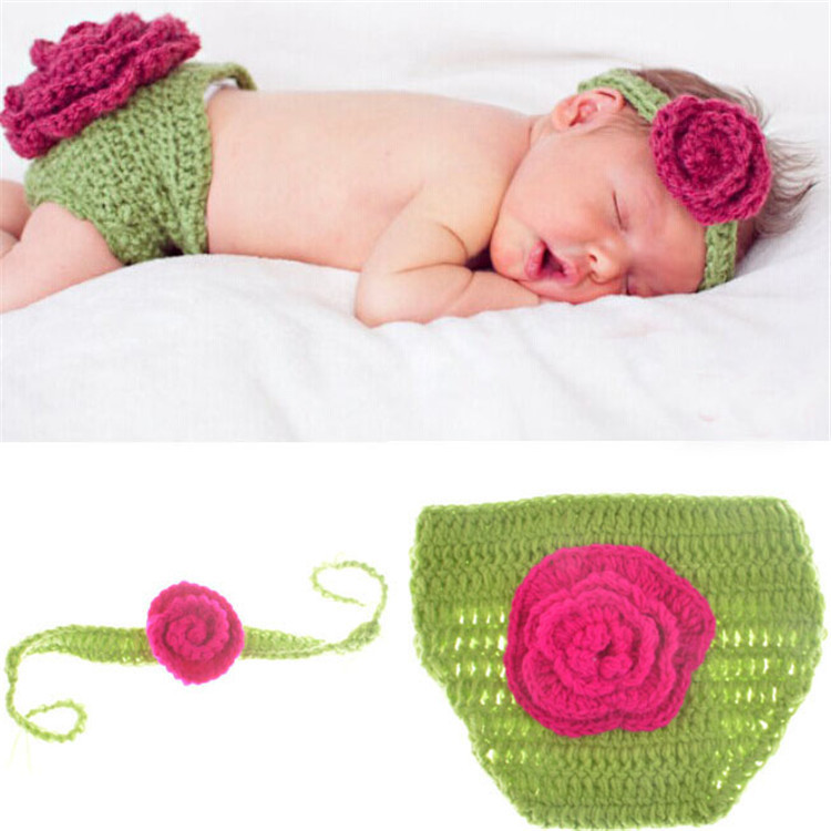 baaf33b27f4 Get Quotations · Baby Flower Handband+Shorts Outfit Set Infant Newborn  Handmade Knitted Crochet Photo Props Costume 1set