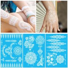 Branco temporária laço de tinta de Flash do tatuagem inspirado adesivo Henna corpo moda arte transferência de água rosto corpo pintura decalques adesivos