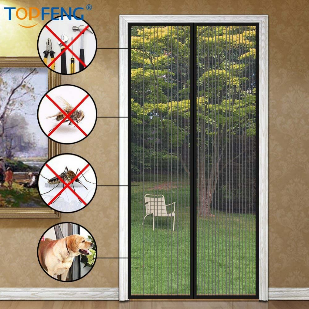 Magnetic Screen Door with Heavy Duty Mesh Curtain Fits Door Size MAX to 38''-83''