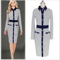 MS67760W fashion striped 2016 women dress office work wear