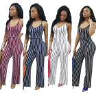 Wholesale MA102 striped spaghetti strap sleeveless wide leg jumpsuits women 2018