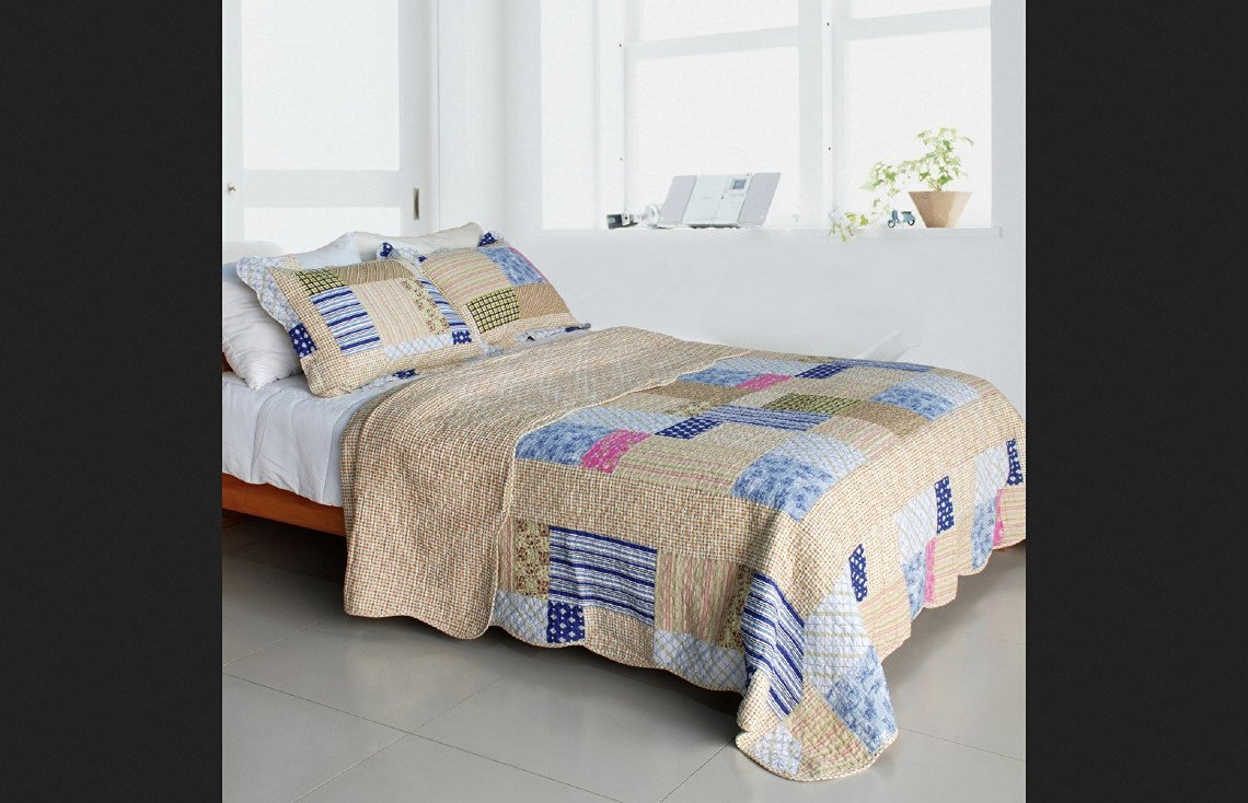 Blancho Bedding Full/Queen Size Classic Plaids Cotton 3PC Vermicelli-Quilted Patchwork Quilt Set