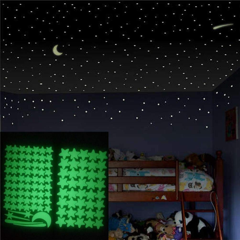 Leewos Wall Stickers, Glow In The Dark Star Wall Murals Star Moon Luminous Wall Decal For Kids Room Wall Art Decor 103pcs