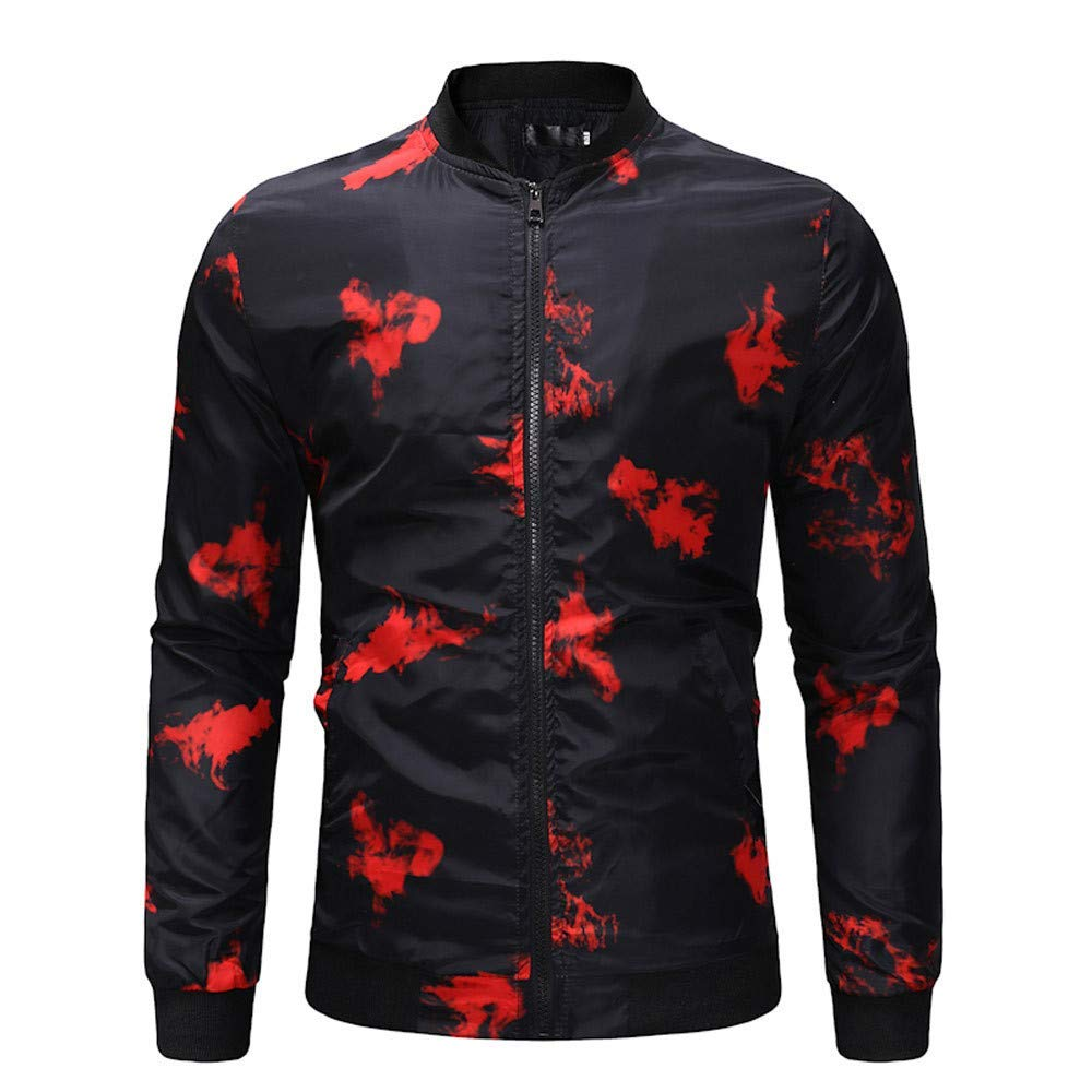 Mens Baseball Jacket,Casual Full Zip Tie Dyeing Printed Bomber Jacket Sweatshirt Coat Zulmaliu