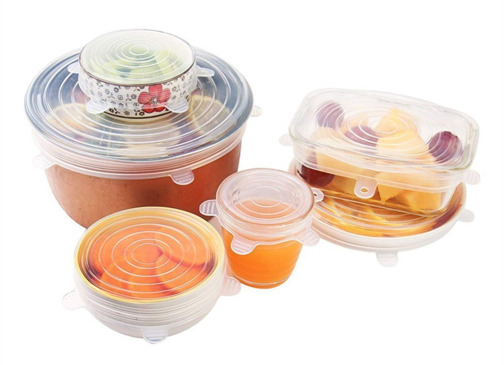 6pcs/set Reusable Silicone Stretch Lids Kitchen Food Cover Wraps BPA Free