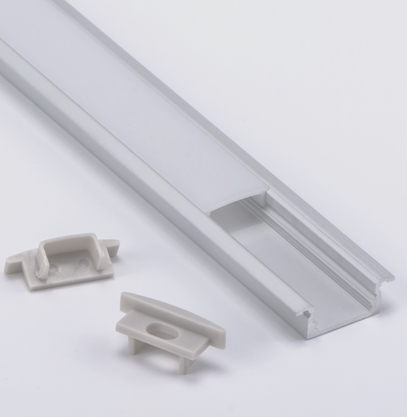 Custom Length 2M 2.5M Led Strip Profile Pc Lens Cover Linear Recessed Led Light Extrusion For 12mm Bar