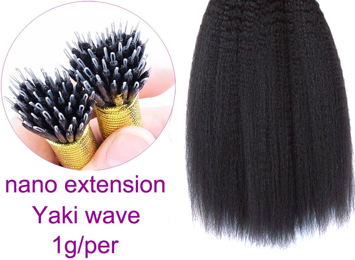 """Remhumhai:Yaki Wave Nano Human Hair Extension,Length 26""""(65cm),100strand(1g/per),Color #92 Red, Thickest Ends on Amazon,100% Remy Human Hair,Professional Human Hair Factory Selling"""