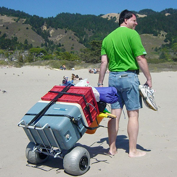 Folding beach cart with balloon wheel buy beach cart for Folding fishing cart