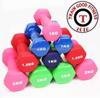 Rizhao Train Good newly Colorful customize logo vinyl dumbbell of KG and LB
