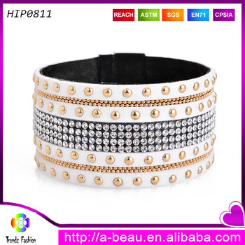 Rinestone pattern with chain wide leather wristband amazing beauty