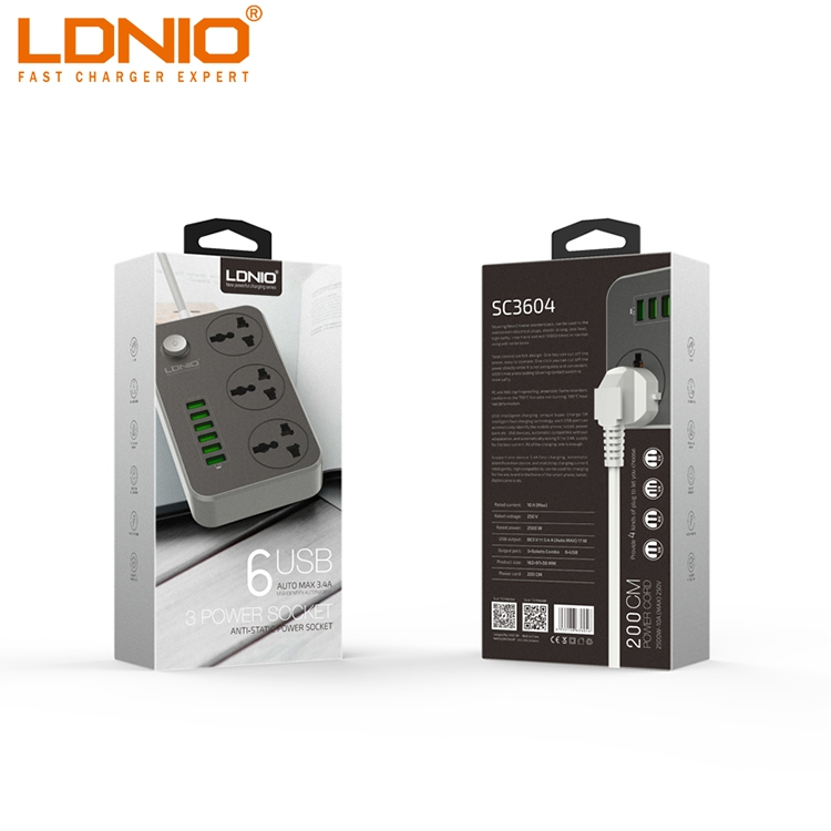 LDNIO Best Selling Universal Travel Power Strip With USB Ports SC3604