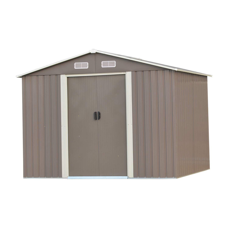 Wonlink 8 by 8-Feet Heavy Duty Outdoor Steel Garden Storage Utility Shed Backyard Lawn Building Garage Gray
