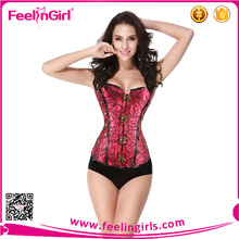 Corrente de Metal fecho Hot Red Corset Lace up Shaper do corpo do espartilho