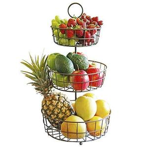 French Country 3 Tier Metal Wire Hanging Fruit Basket for Storing & Organizing Vegetables,Fruits