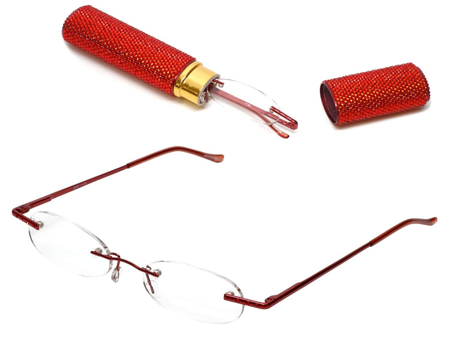 595feab851a Get Quotations · Calabria Diamond Diva Portable Tube Reading Glasses with  Matching Case