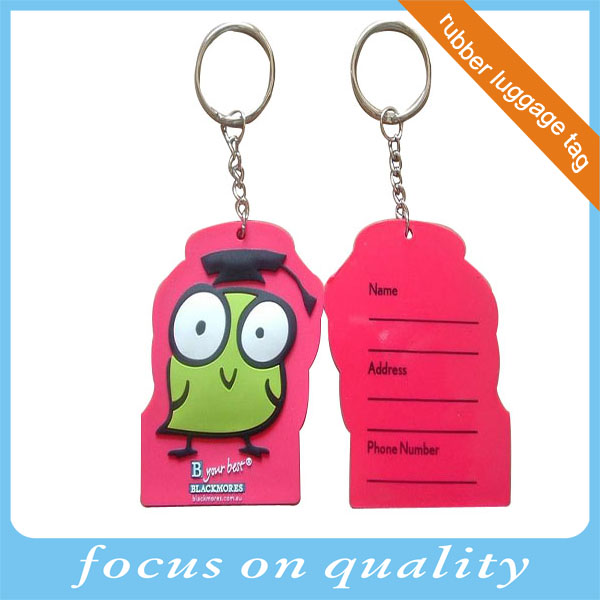 High quality animal design embossed 3d  luggage tag with lovely elephant rubber souvenirs