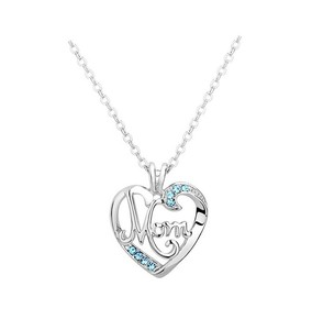 925 Sterling Silver Blue Zircon Heart Mom Necklace 18""