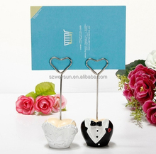 wedding favor place card holder--Tuxedo and Gown Wire Table Number Memo Photo Clip Party Decoration