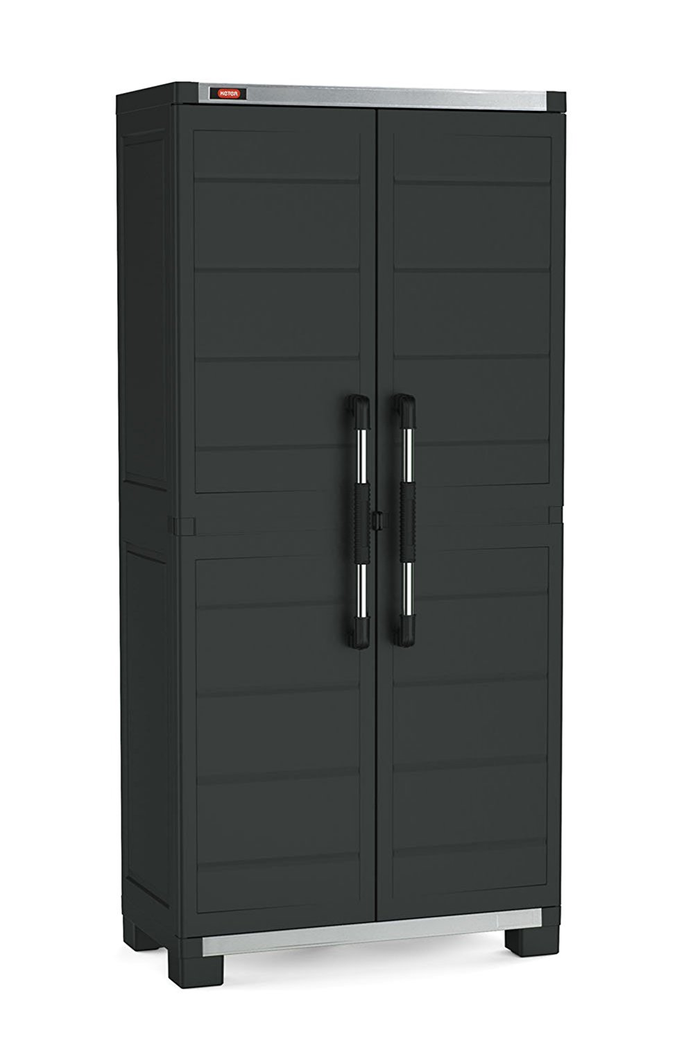 Keter XL Pro Freestanding Durable Resin Plastic Utility Tall Cabinet with Adjustable Shelving, Black