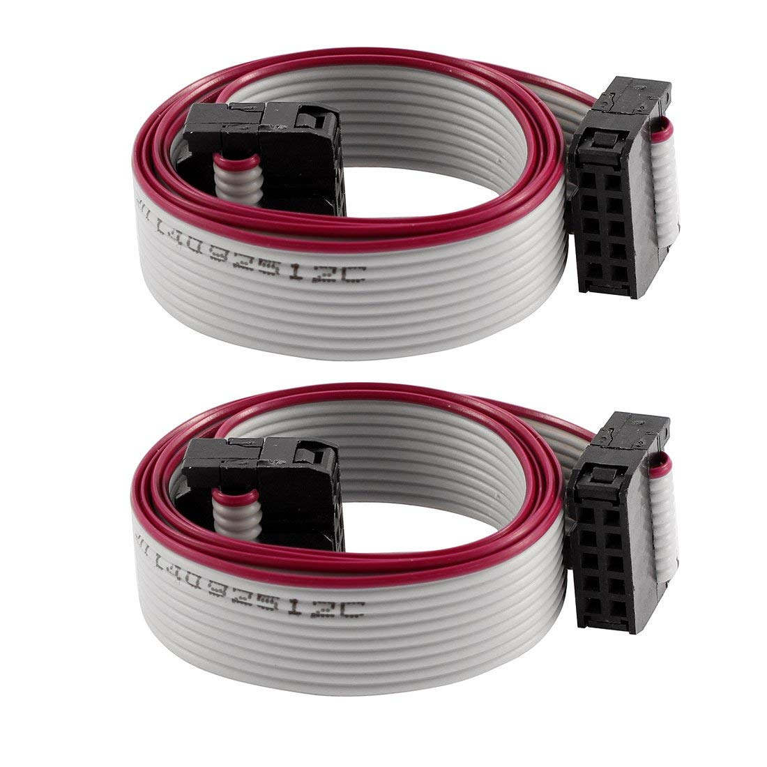 Aexit Hard Drive Bulk Cables 50cm Feamle IDC 10 Pin Extension Flat Ribbon Cable Flat Ribbon Cables 2 Pcs