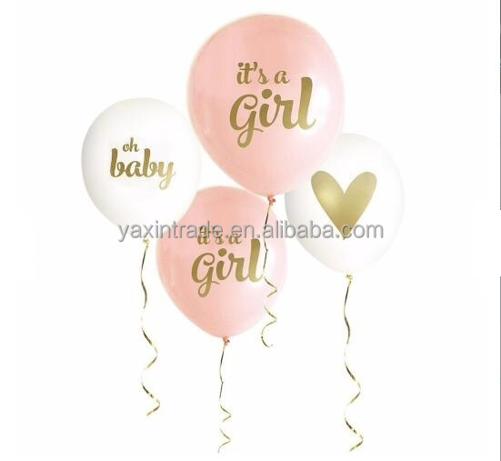 Baby Shower Decorations 12 inch Latex Balloons Blue Pink Its A Boy Girl Gold Print Balloon