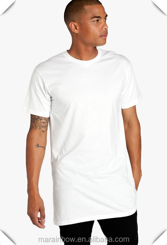 Street Wear High Quality 100% Cotton White Plain Mens Long Line ...