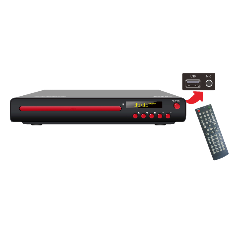 Hot Vender DVD-TKS2251 Casa DVD Player com Display LED de controle Remoto e USB SD