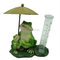 Under umbrella frog with rain gauge