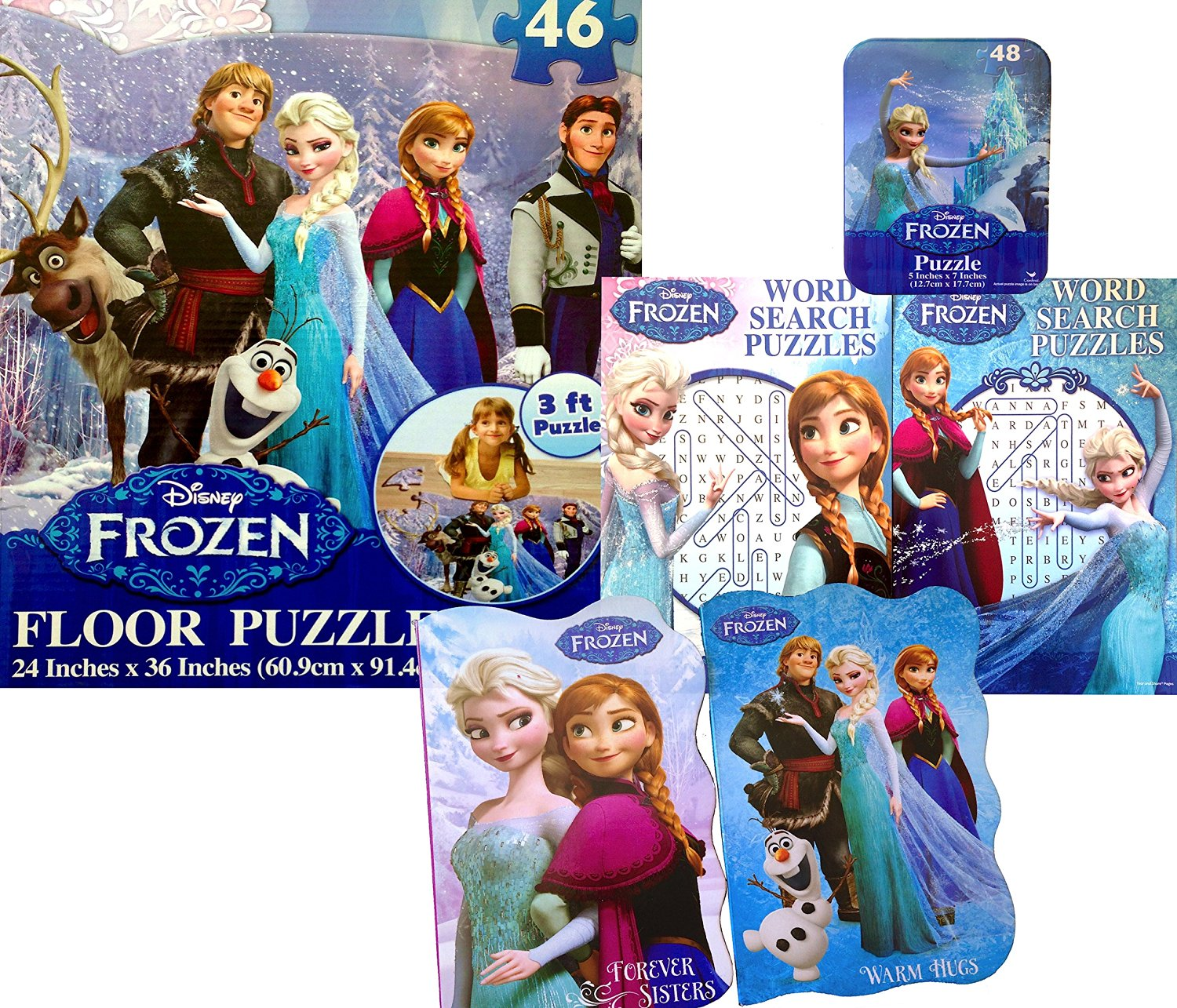 Disney Frozen Floor Puzzle 3ft Puzzle with Set of 2 Word Search Books 2 Story Time Books and Small on the Go Puzzle Disneyland Fun , Daycare, Schools