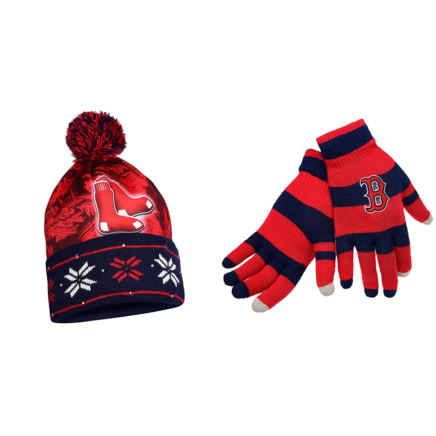 11a6827104a Get Quotations · MLB Boston Red Sox Glove Stripe Knit And Big Logo Beanie 2  Pack Bundle