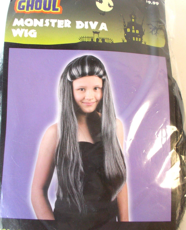 Monster Diva Long Wig with Grey Streaks 18' OSFM NIP
