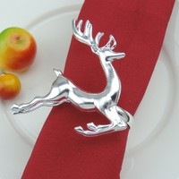 Wholesale High Quality Christmas Favor Silver Reindeer Napkin Ring