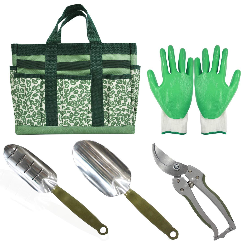 CERBIOR Garden Tool Set 5 Piece Heavy Duty Hand Tools with Garden Canvas Bag for Women/Men