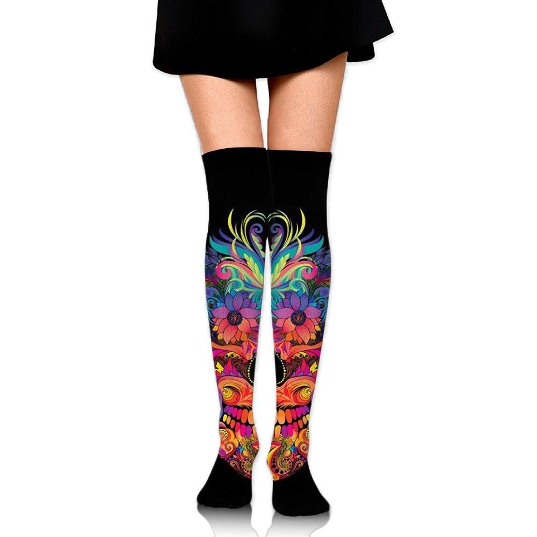 Zaqxsw Skull Flower Women Unique Thigh High Socks Long Socks For Ladies