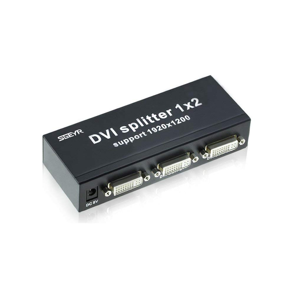 SGEYR 2 Port DVI Splitter 1x2 1 In 2 Output Support 1920x1200 3D