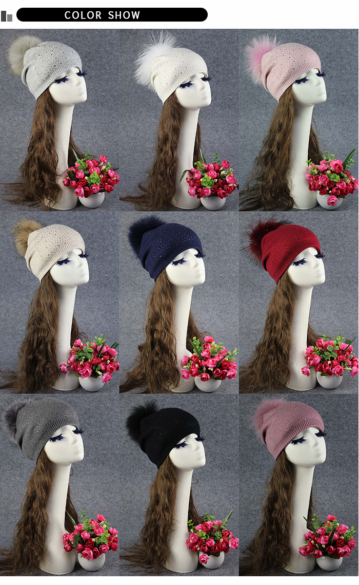 New Ladies Pom Pom Hat Real Raccoon Fur Bobble Beanies for Women Wooly Hat