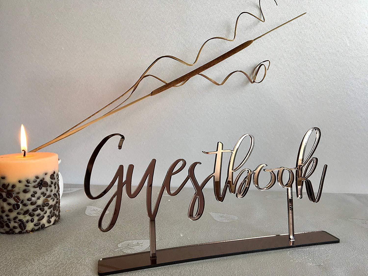 Get Quotations Guestbook With Base Table Signs Calligraphy Wedding Acrylic Free Standing Laser Cut Reception Numbers Gold