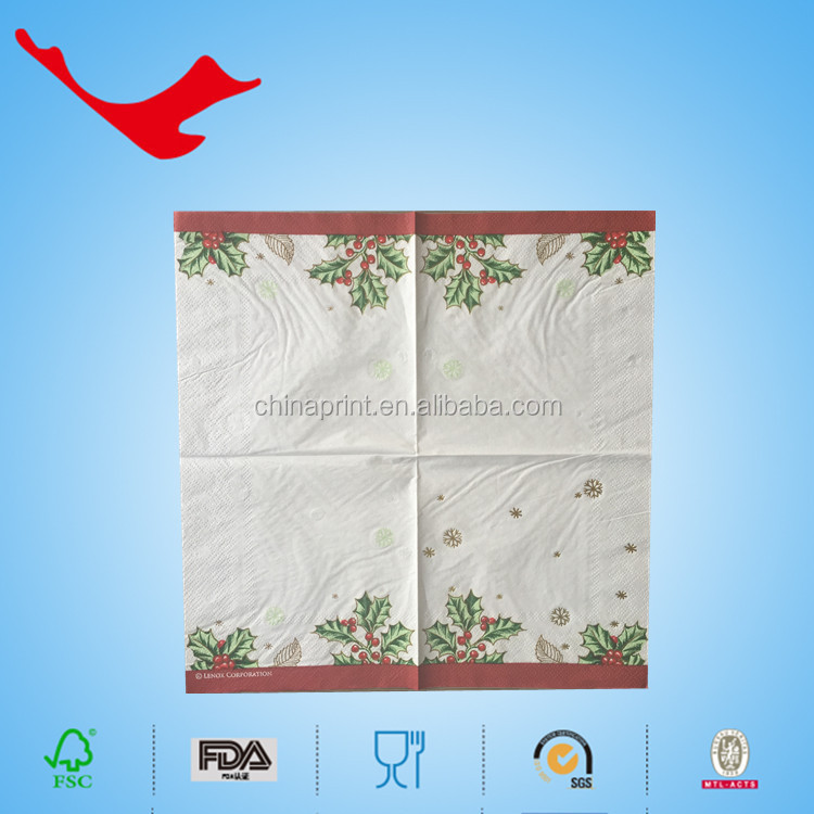 2016 new products foil gold hot stamped printed napkin