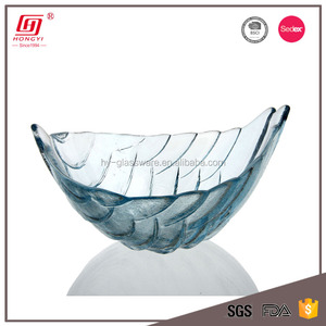 Wholesale dishes and plates lead free fancy blue crystal glass fruit tray