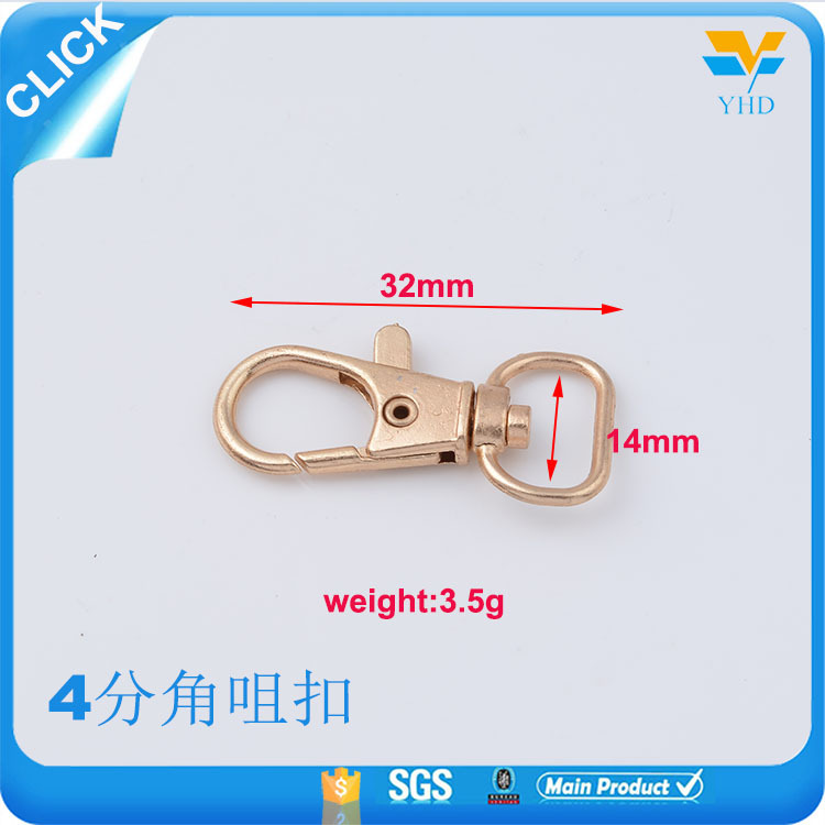 Customized size and color for you only handbag design snap hook accessories