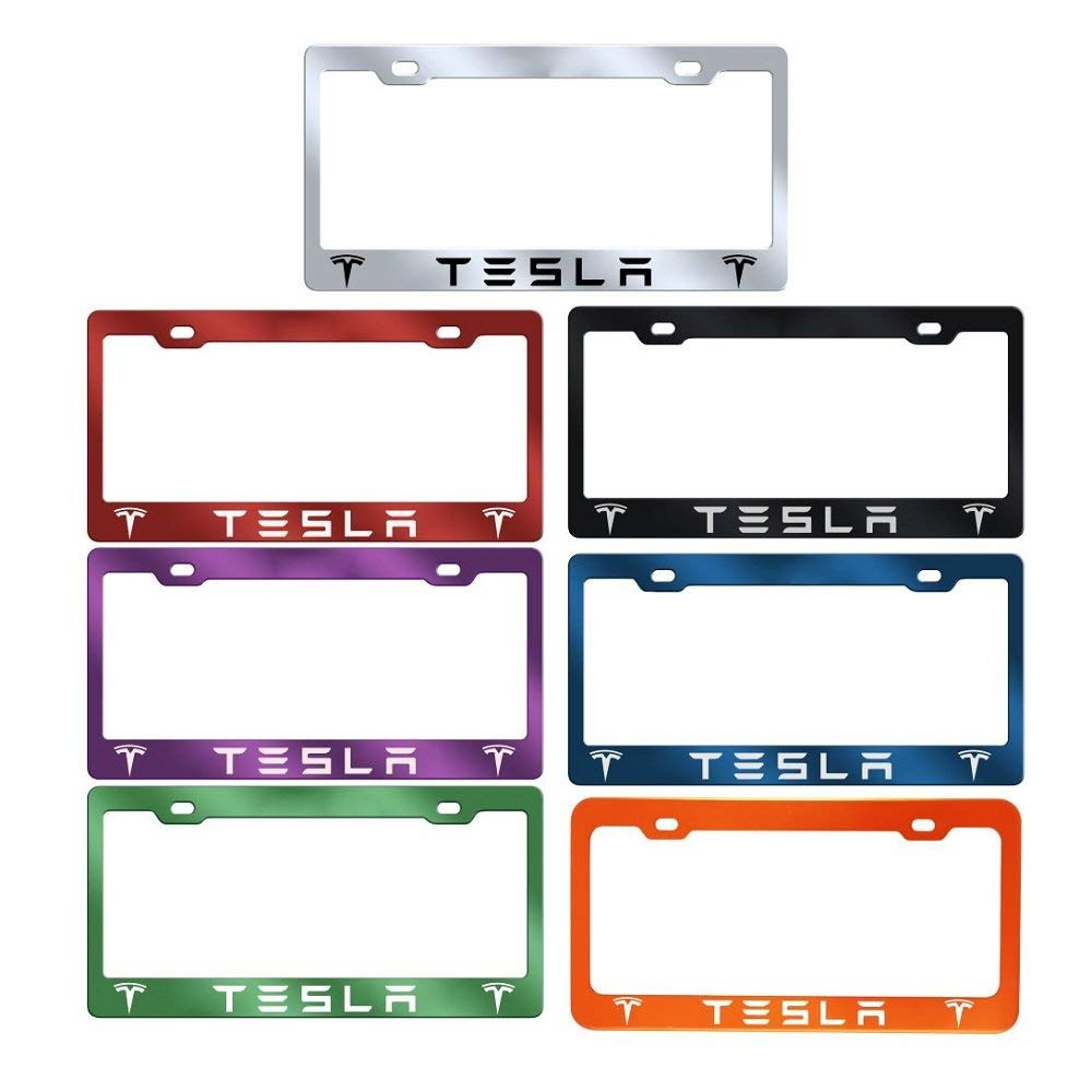 Tesla Logo Laser Engraved License Plate Frame (Anodized Aluminum)