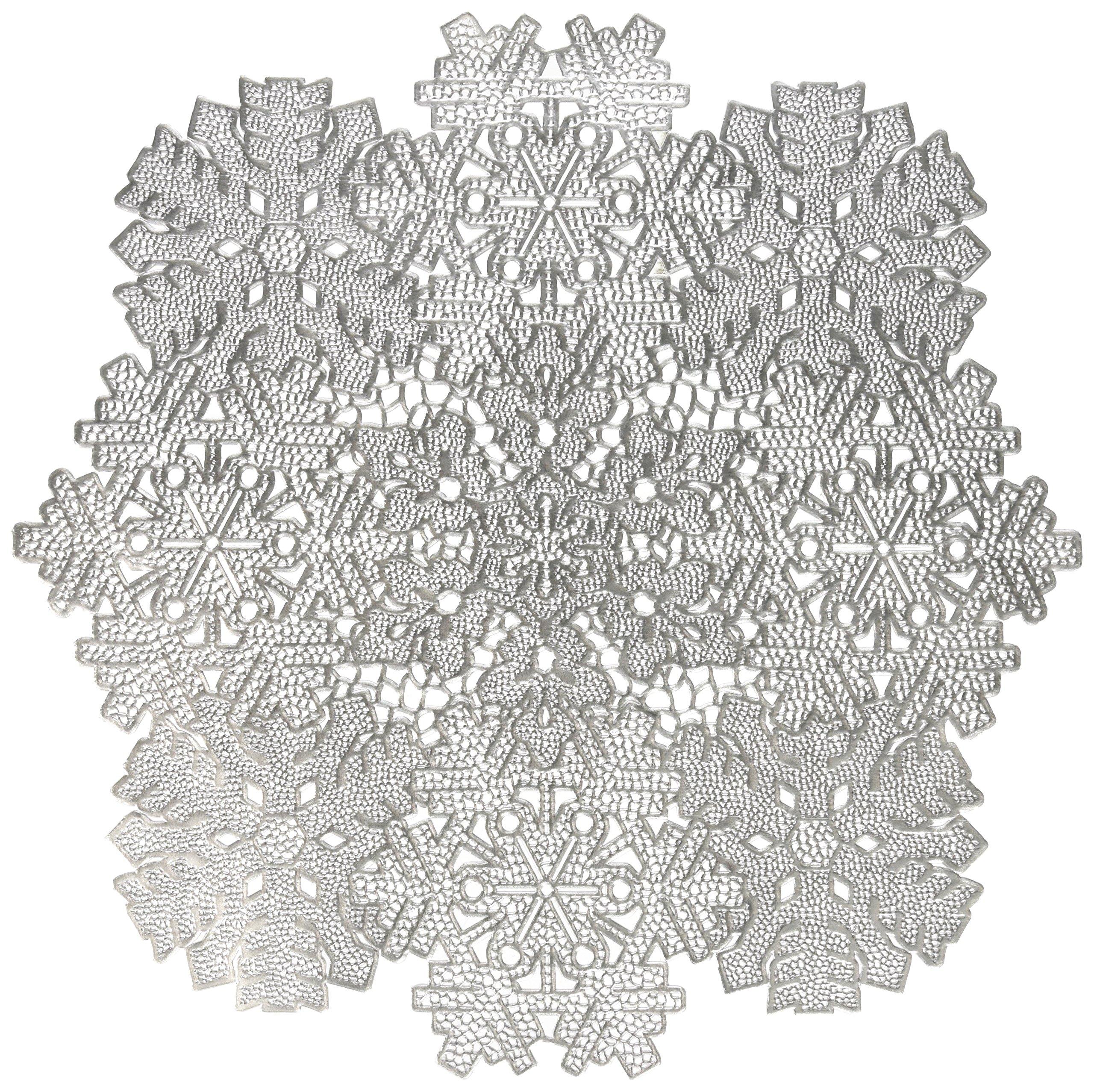 "Benson Mills Co., Inc. Benson Mills Snowflake Frenzy Pressed Vinyl Placemat (Set of 4), Silver, 17""X17"""