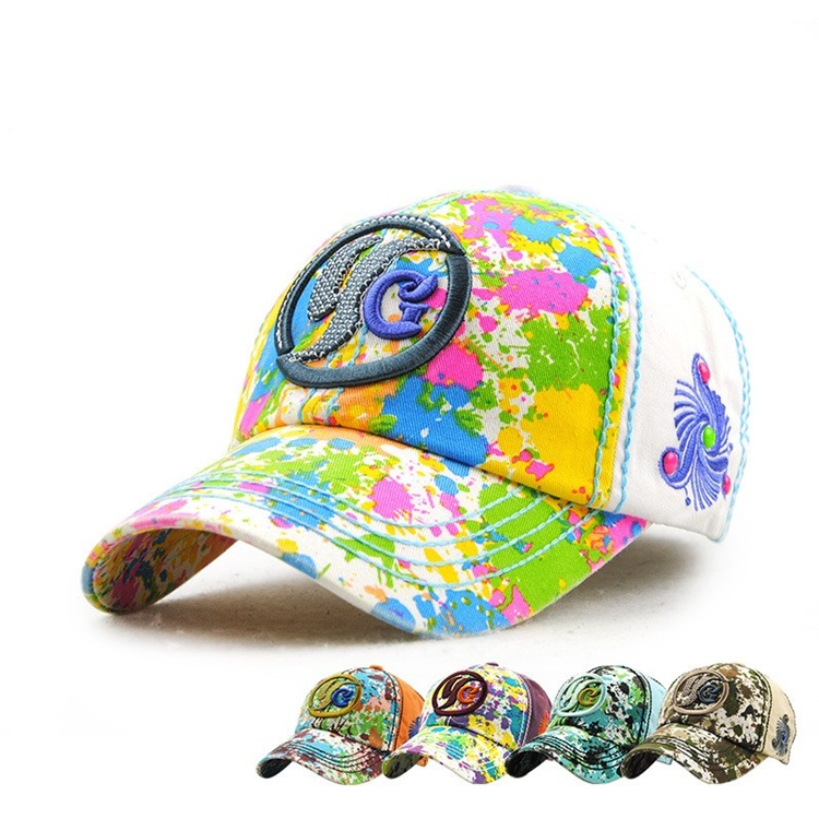 42103d97 Autumn Fashion Colorful Letters Graffiti Woman Sunshade Baseball Cap
