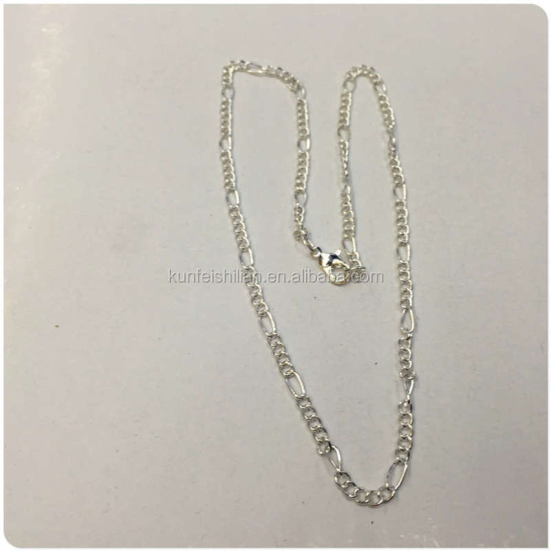 Wholesale Stock Plating Sliver Figaro Chain Fashion Chain Necklace.