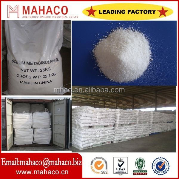 professional manufacturer of food grade sodium metabisulfite / sodium pyrosulfite na2s2o5 with SGS/BV certificate