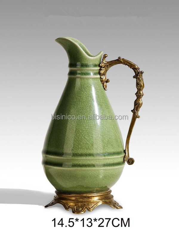 Ornamental Porcelain Bronze Water Pitcher With HandleHand Painted Beauteous Decorative Water Pitcher