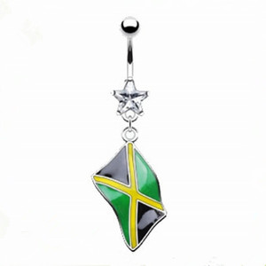 Belly ring with dangling Jamaican flag navel Rings