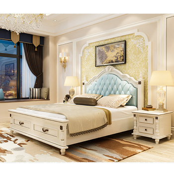 New Bedroom Furniture Used Leather Wooden Box Bed Design Solid Wood