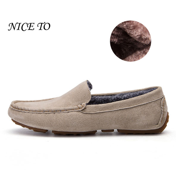 New Casual Shoes Winter Fur Men Loafers 2017 Slip On Fashion Drivers Loafer Pig Suede Leather Moccasins Plush Men Shoes